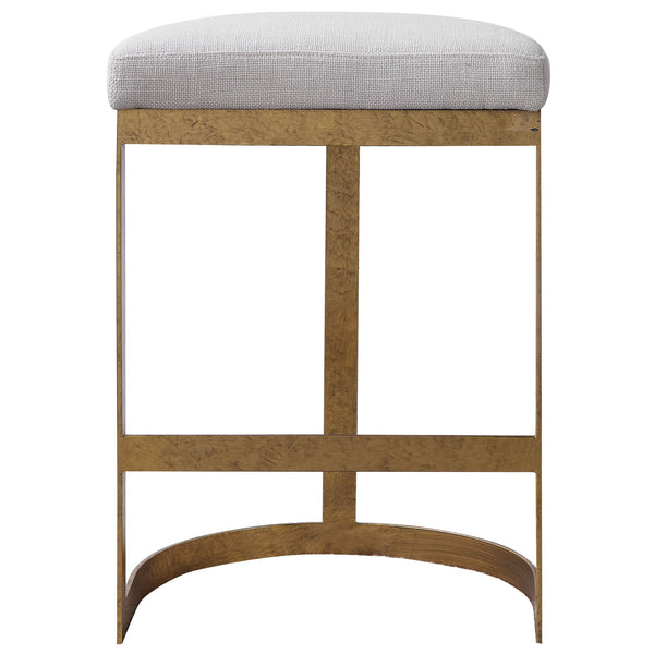 Ivanna Contemporary Mottled Antique Gold Backless Counter Stool