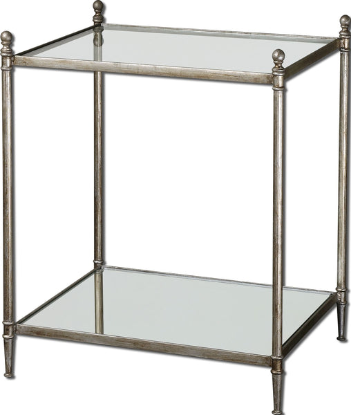 Gannon Transitional Rectangular Antiqued Silver and Glass Accent Table