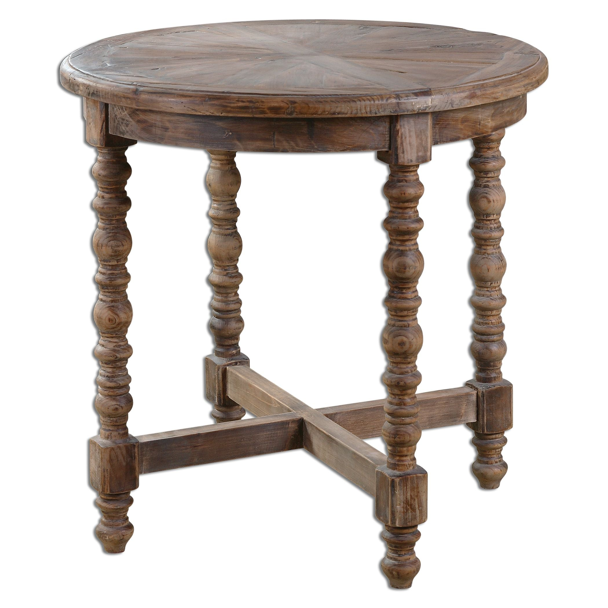 - Samuelle Farmhouse Reclaimed Wood Round Accent Table Innovations