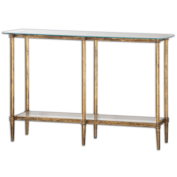 Elenio Transitional Gold Leaf and Glass Rectangular Console Table