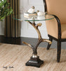 Stag Horn Glass Top Accent Table