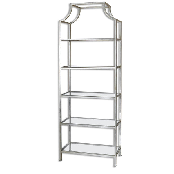 Aurelie Transitional Silver Leaf Iron Etagere with Glass Shelves