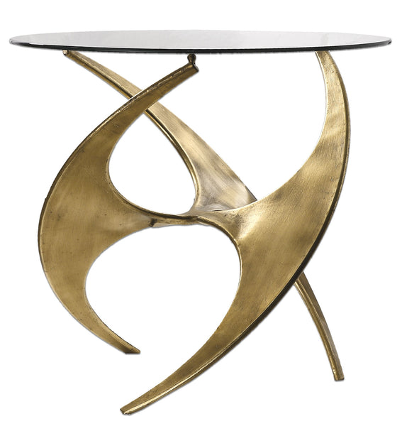 Graciano Mid-century Modern Antique Gold Round Accent Table