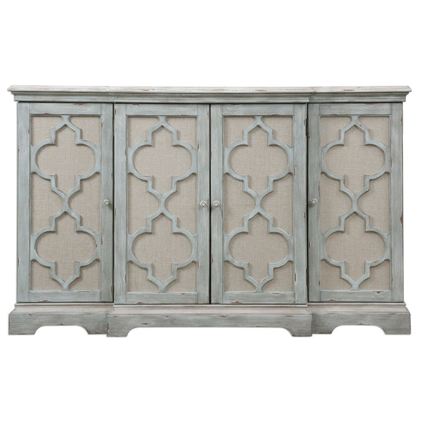Sophie 4-Door Sea Gray Decorative Console Cabinet