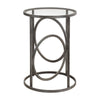 Lucien Aged Black Iron and Glass Contemporary Round Accent Table