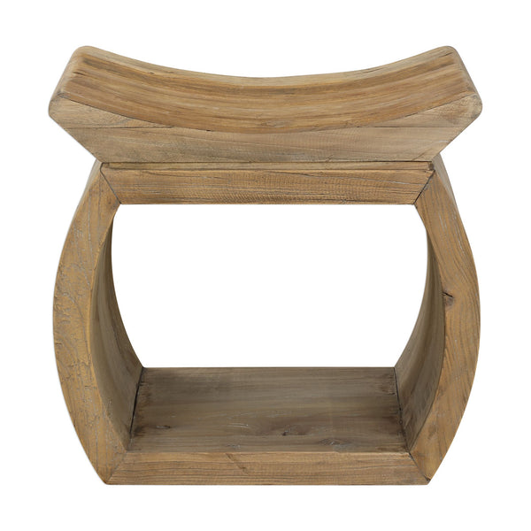 Connor Rustic Distressed Reclaimed Elm Wood Accent Stool