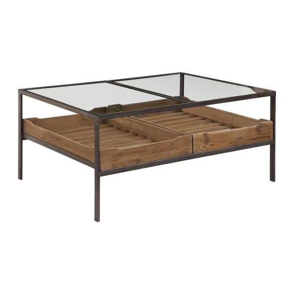 Silas Transitional Iron, Glass, and Reclaimed Pine Rectangular Coffee Table