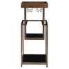 Adia Mid-century Modern Dark Bronze Bar Stand with Black Glass Shelves