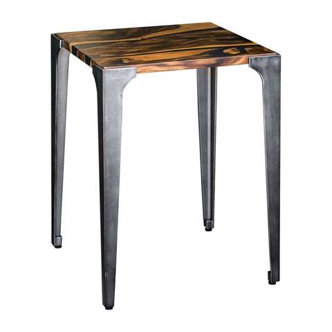 Mira Industrial Acacia and Iron Square Accent Table by Uttermost