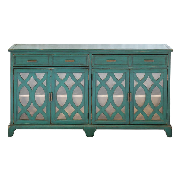 Oksana Transitional Antique Blue-Green Accent Cabinet with Glass Doors