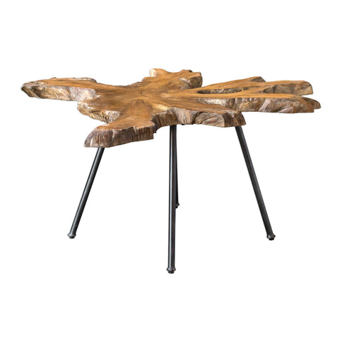 Kravitz Rustic Distressed Natural Teak Wood Coffee Table by Uttermost