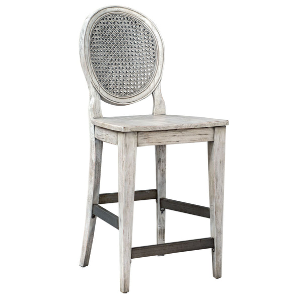 Clarion Transitional Aged White Cane Back Counter Stool