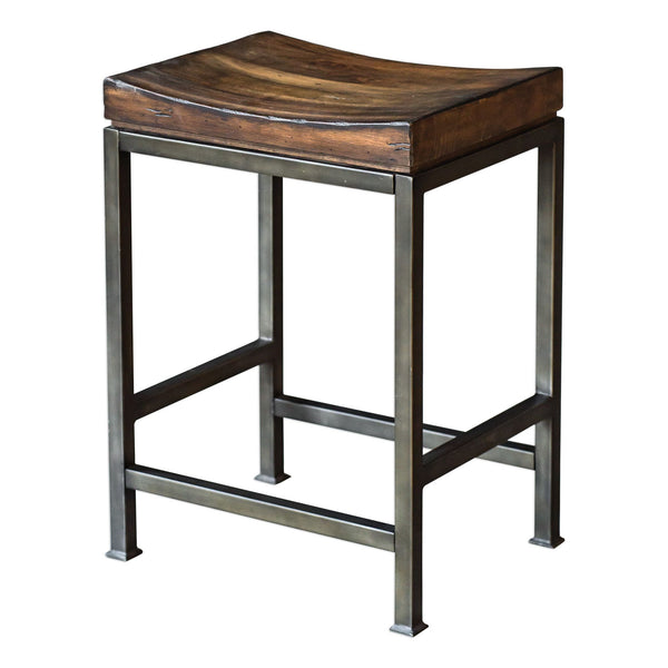 Beck Industrial Backless Solid Hardwood and Iron Counter Stool