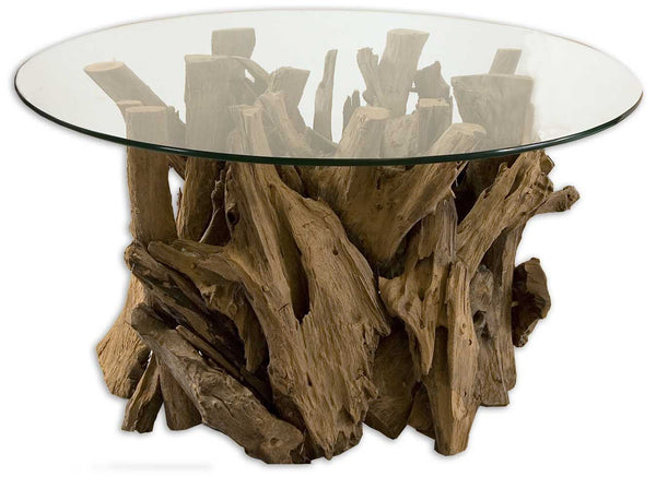 Driftwood Natural Teak Round Glass Top Coffee Table