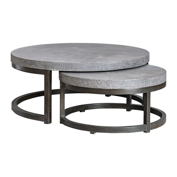 Aiyara Contemporary Gray and Coffee Nesting Coffee Table, 2-Piece Set