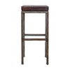 Beck Industrial Backless Dark Walnut and Brushed Steel Bar Stool by Uttermost