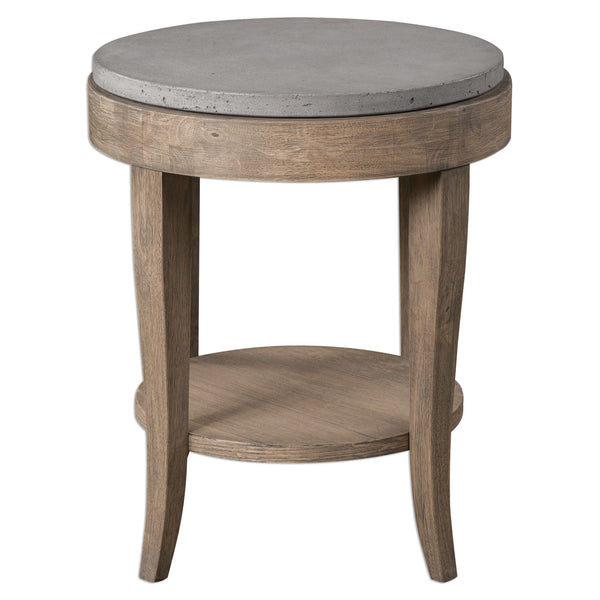 Deka Farmhouse Round Accent Table with Concrete Top