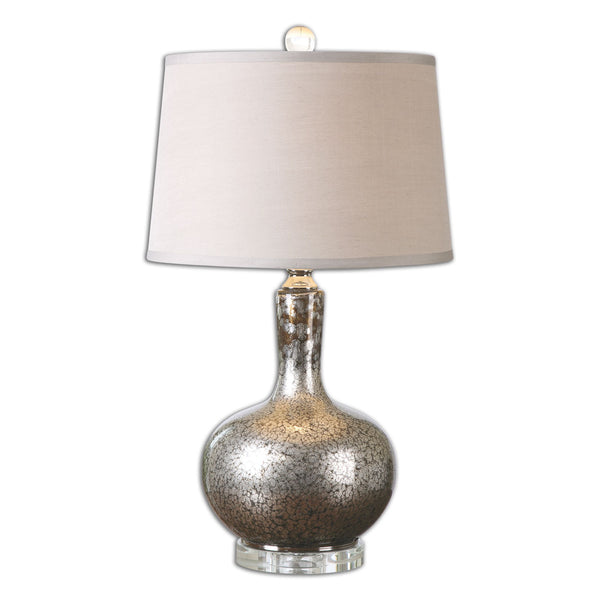 Aemilius Contemporary Mottled Mercury Silver Glass Table Lamp by Uttermost