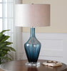 Hagano Contemporary Blue Glass Table Lamp