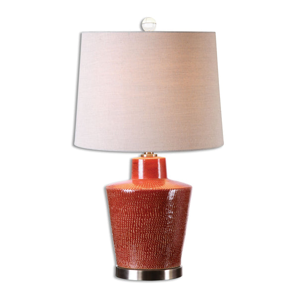 Cornell Contemporary Textured Brick Red Table Lamp