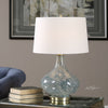 Celinda Contemporary Blue Gray Glass Accent Lamp