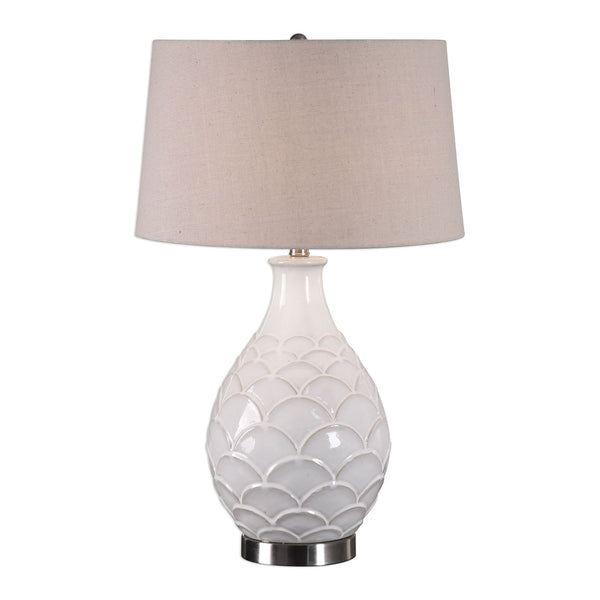 Camellia Contemporary Gloss White Ceramic Table Lamp
