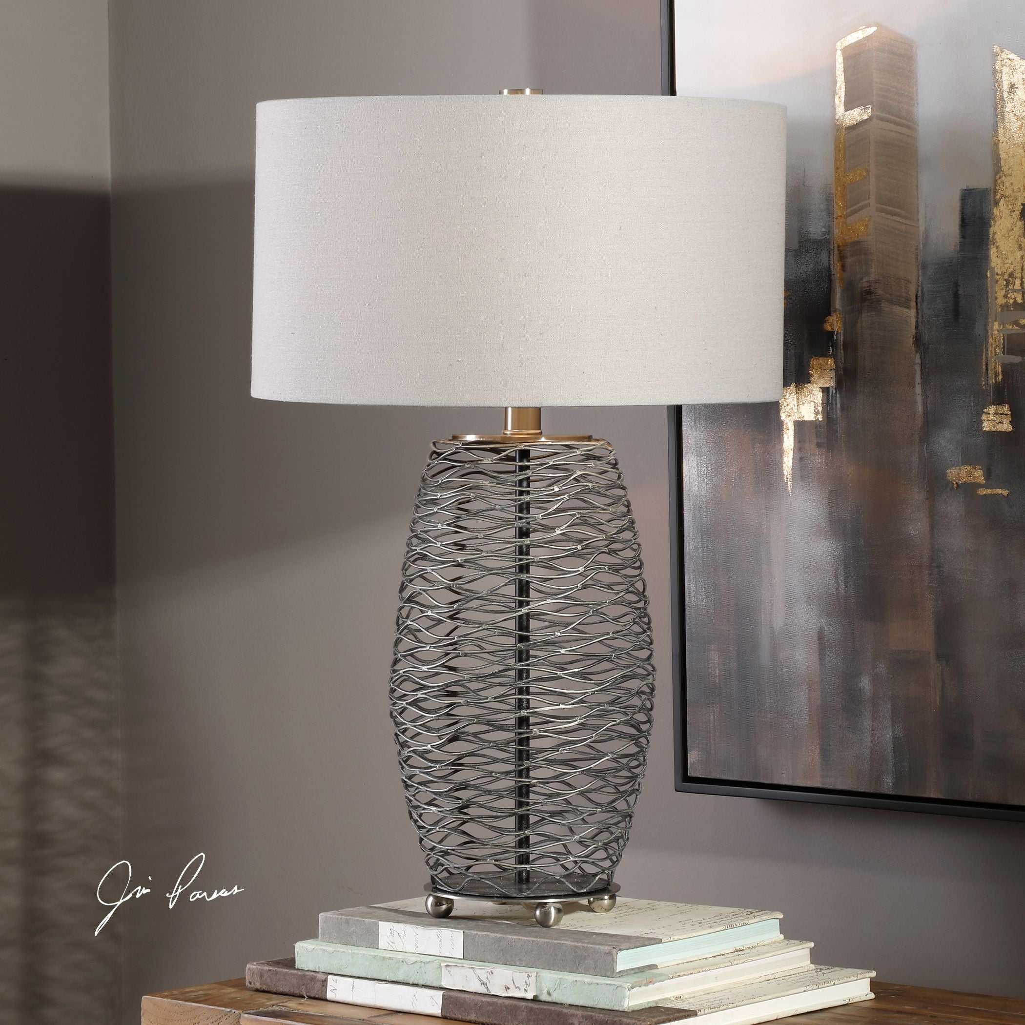 Sinuous Contemporary Wavy Steel Mesh Table Lamp by Uttermost