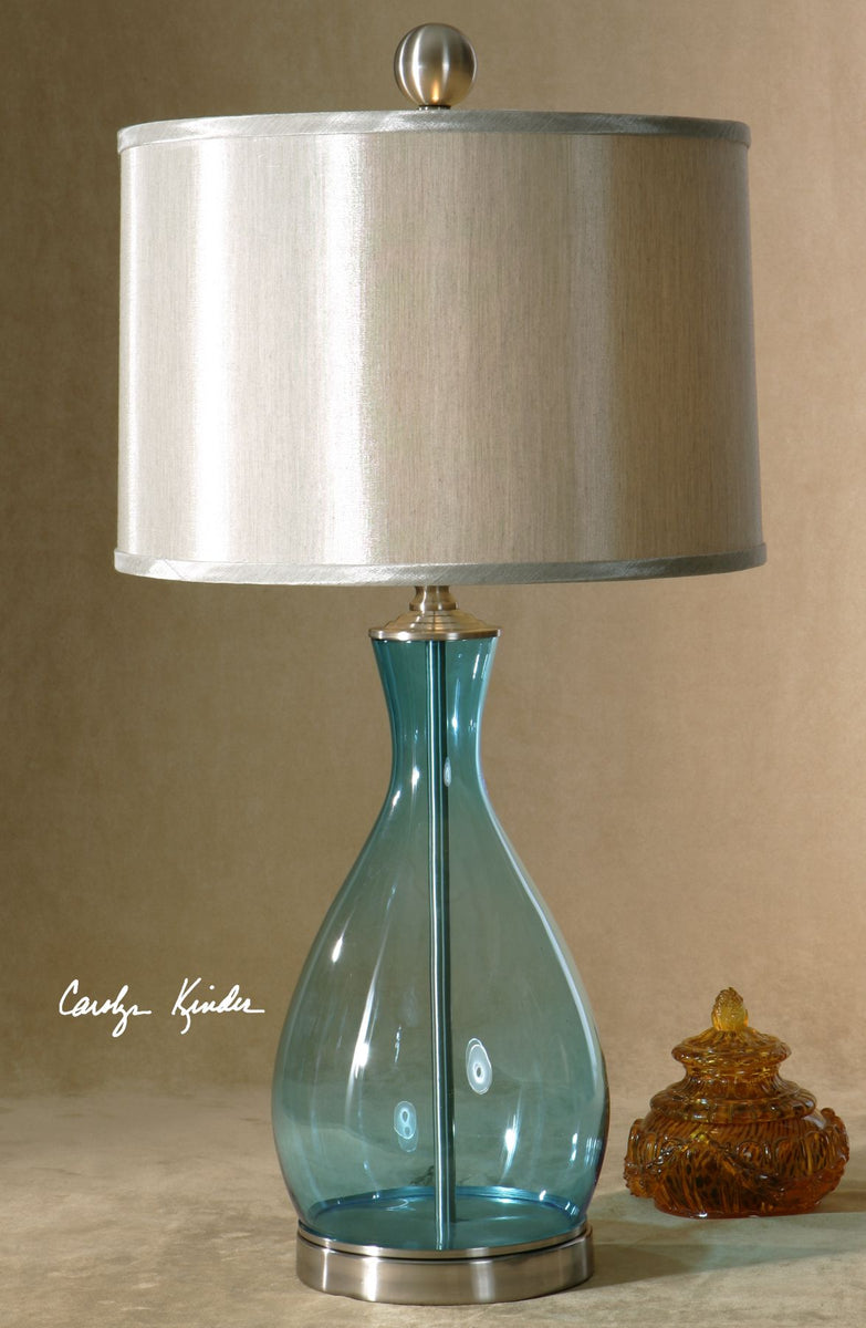 Meena Transitional Blue Glass Table Lamp Innovations