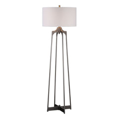 Adrian Aged Gun Metal Modern Floor Lamp by Uttermost