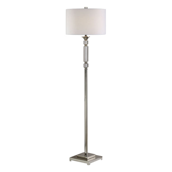 Volusia Transitional Polished Nickel and Crystal Floor Lamp
