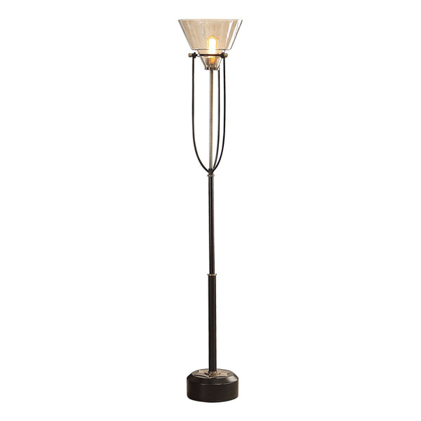 Amaleeda Transitional Amber Glass Torchiere Floor Lamp