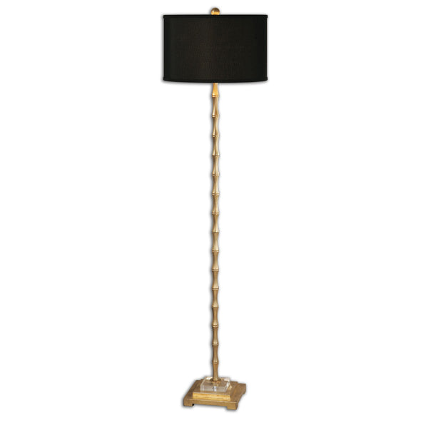 Quindici Lightly Antiqued Gold Leaf Bamboo Floor Lamp