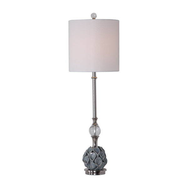 Elody Transitional Calla Lily Blue Gray Ceramic Buffet Lamp by Uttermost