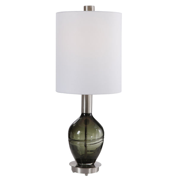 Aderia Contemporary Gray Glass Accent Lamp