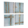 Cross Roads Contemporary Hand Painted Abstract Artwork, 4-Piece Set by Uttermost