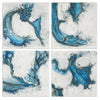 Swirls In Blue Abstract Hand Painted Artwork, 4-Piece Set