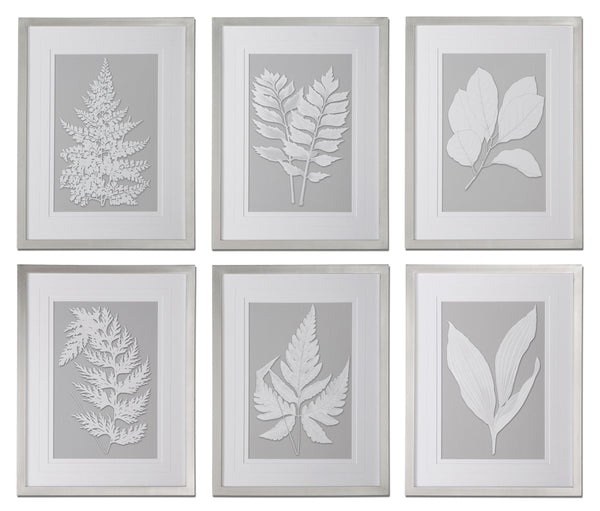 Moonlight Ferns Framed Artwork, 6-Piece Set by Uttermost