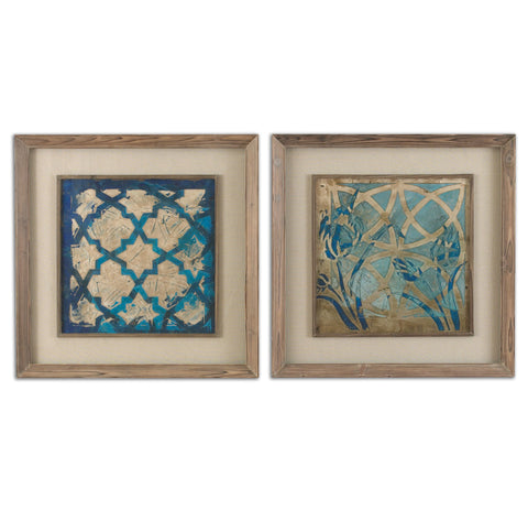 Stained Glass Indigo Framed Artwork, 2-Piece Set by Uttermost