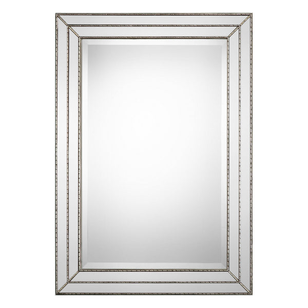 Eliza Transitional Silver Rectangular Beveled Wall Mirror