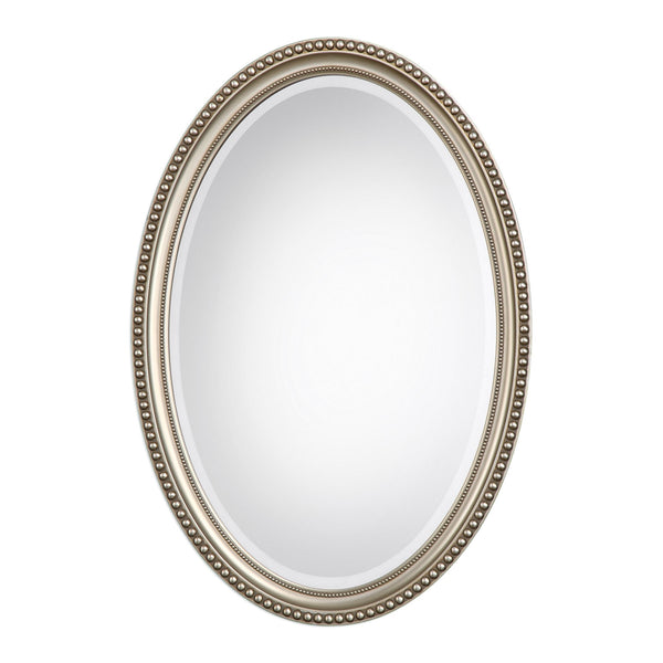 Charlotte Transitional Antiqued Silver Oval Beaded Beveled Wall Mirror