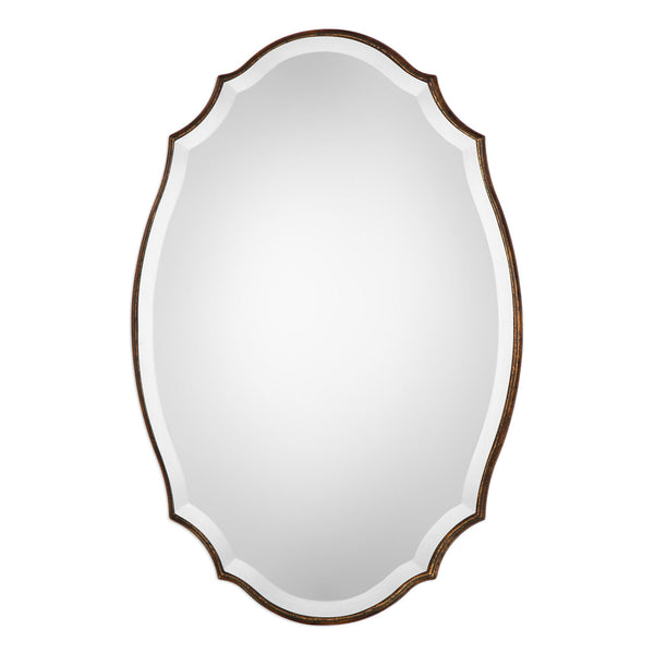 Magnolia Transitional Antiqued Gold Shaped Oval Beveled Wall Mirror