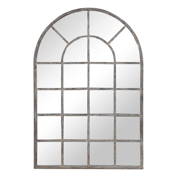 Jenna Transitional Antique Gray Arched Windowpane Wall Mirror