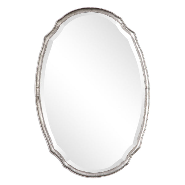Jolene Transitional Hammered Silver Shaped Oval Beveled Wall Mirror
