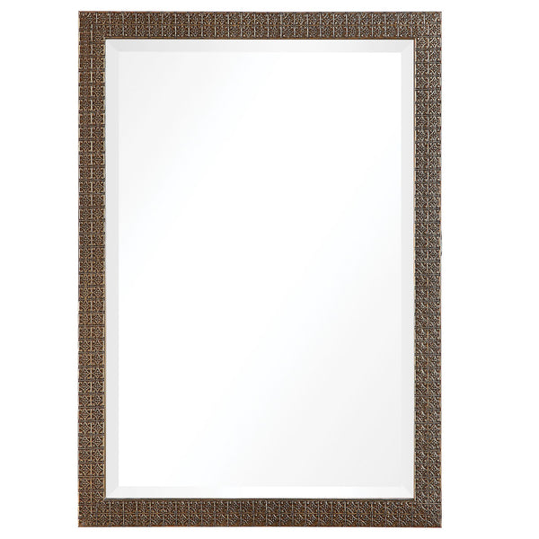 Noel Transitional Antique Gold Rectangular Framed Wall Mirror