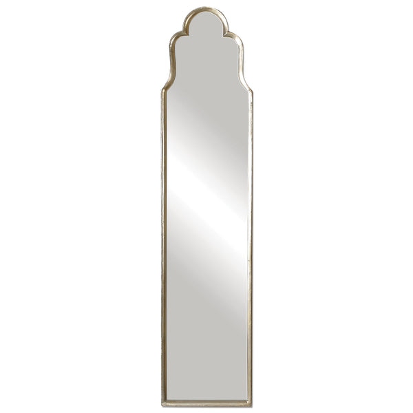 Kyra Transitional Arched Oxidized Silver Cheval Mirror