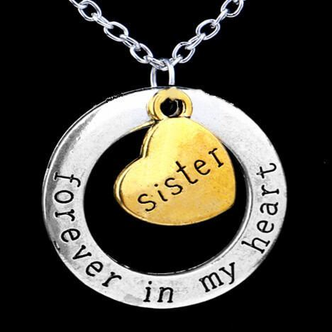 Sister forever in my heart hand stamped vintage pendant necklace sister forever in my heart hand stamped vintage pendant necklace mozeypictures Gallery