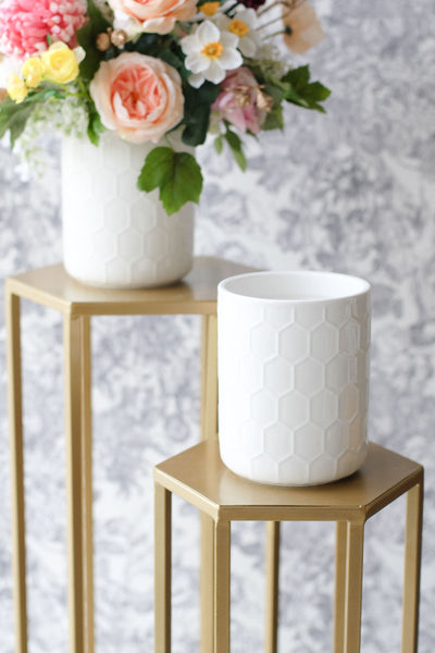 """Bee"" Honeycomb Pattern Ceramic Vase Arrangement"