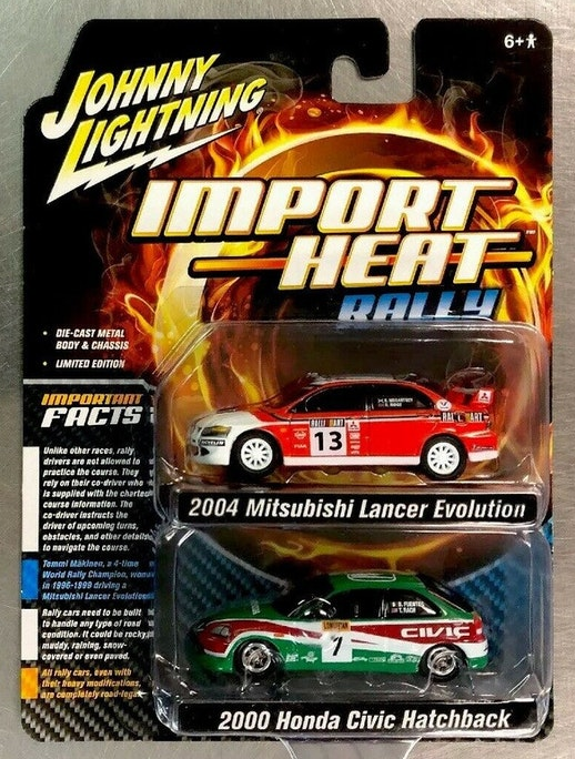 1:64 Scale Johnny Lightning Import Heat Rally Limited Edition EVO & Civic