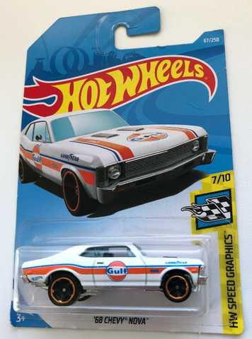 1:64 Scale Hot Wheels Speed Graphics 68 Chevy Nova Gulf 67/250