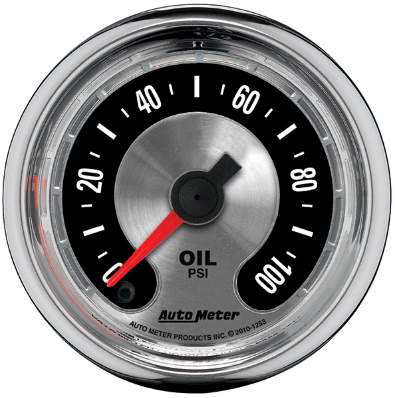 "AUTO METER AMERICAN MUSCLE OIL PRESSURE GAUGE 2-1/16"" FULL SWEEP ELECTRIC 0-100 PSI"